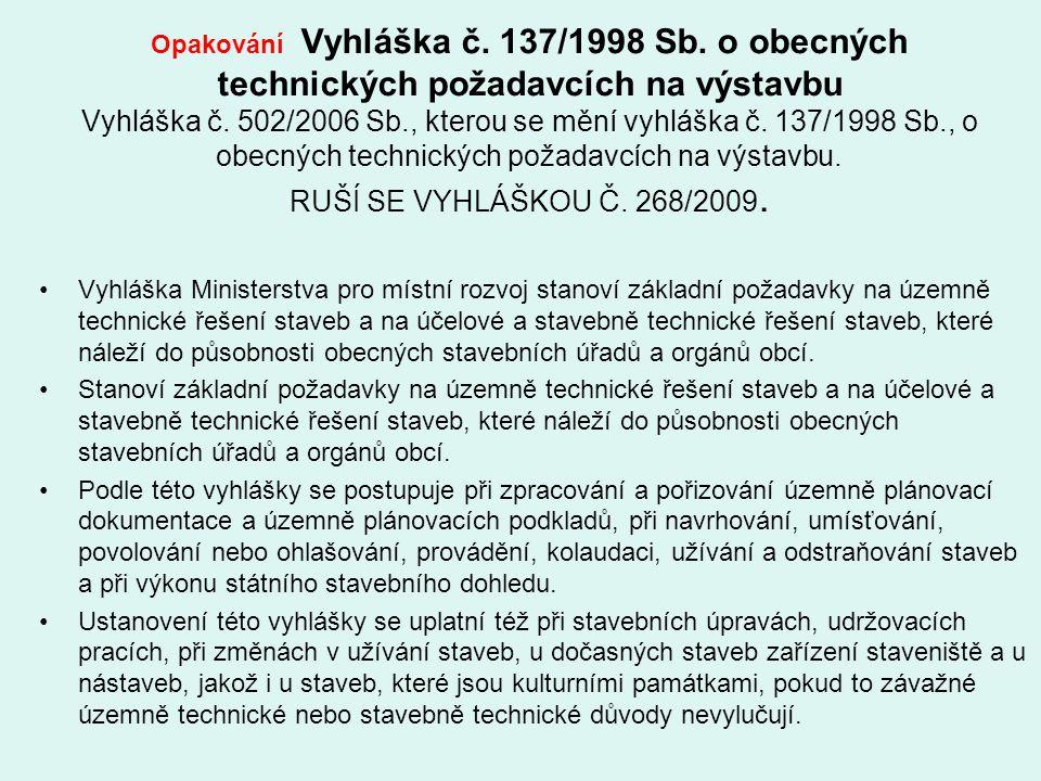 Opakování Vyhláška č. 137/1998 Sb. o obecných technických požadavcích na výstavbu Vyhláška č. 502/2006 Sb., kterou se mění vyhláška č. 137/1998 Sb., o
