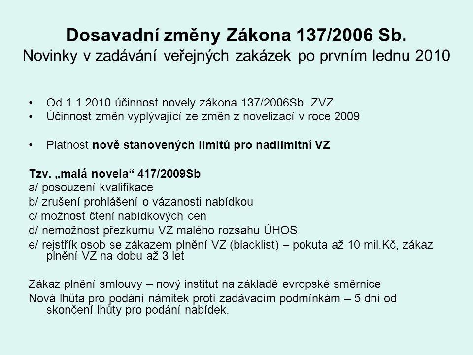 Dosavadní změny Zákona 137/2006 Sb. Novinky v zadávání veřejných zakázek po prvním lednu 2010 Od 1.1.2010 účinnost novely zákona 137/2006Sb. ZVZ Účinn