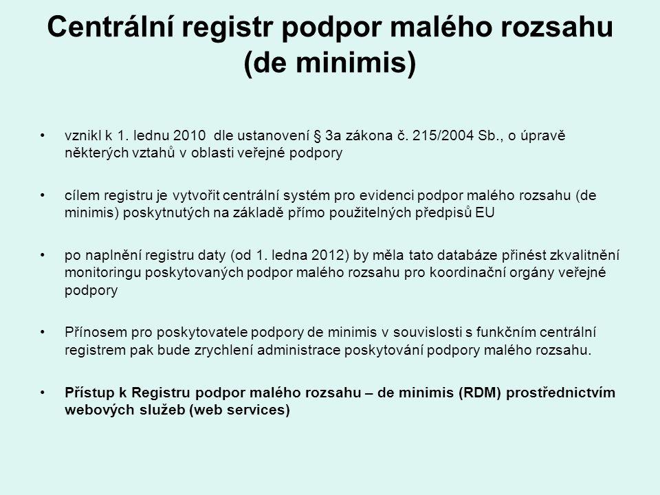 Centrální registr podpor malého rozsahu (de minimis) vznikl k 1. lednu 2010 dle ustanovení § 3a zákona č. 215/2004 Sb., o úpravě některých vztahů v ob