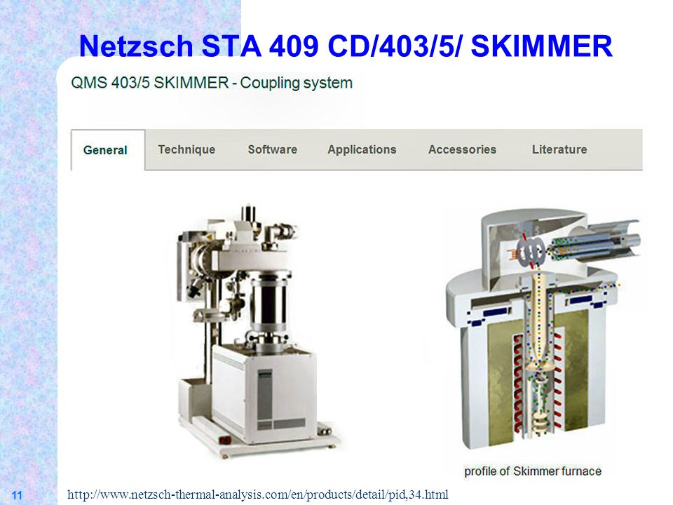 11 Netzsch STA 409 CD/403/5/ SKIMMER http://www.netzsch-thermal-analysis.com/en/products/detail/pid,34.html