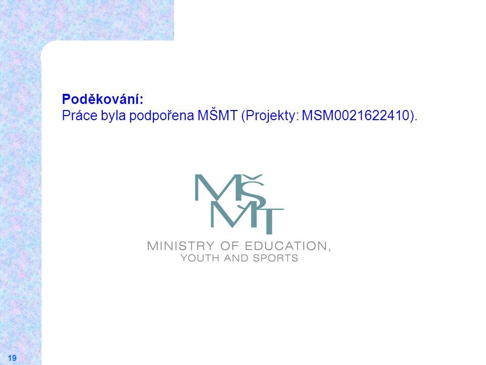 19 Poděkování: Práce byla podpořena MŠMT (Projekty: MSM0021622410).