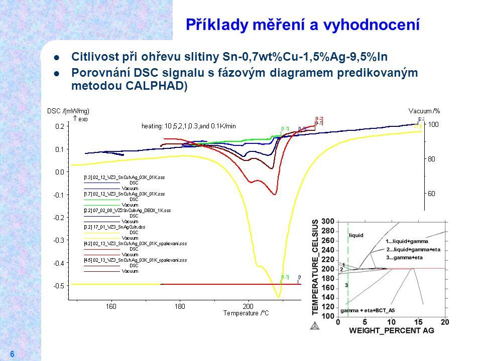 6 Příklady měření a vyhodnocení Citlivost při ohřevu slitiny Sn-0,7wt%Cu-1,5%Ag-9,5%In Porovnání DSC signalu s fázovým diagramem predikovaným metodou CALPHAD)