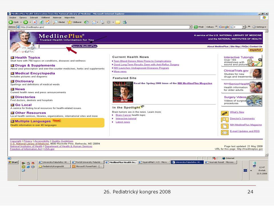 26. Pediatrický kongres 200824