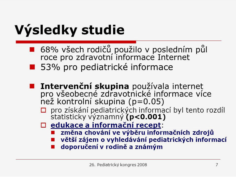 26. Pediatrický kongres 20087 Výsledky studie 68% všech rodičů použilo v posledním půl roce pro zdravotní informace Internet 53% pro pediatrické infor