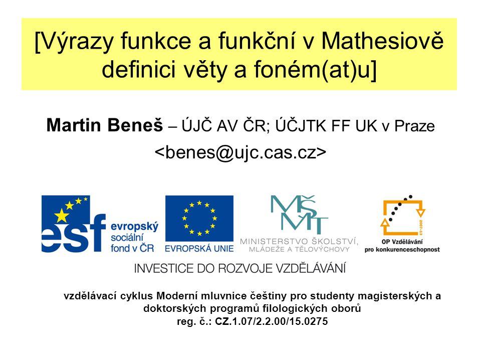 [Pramen a cíle] MATHESIUS, Vilém (1982 [1929]): Funkční lingvistika.