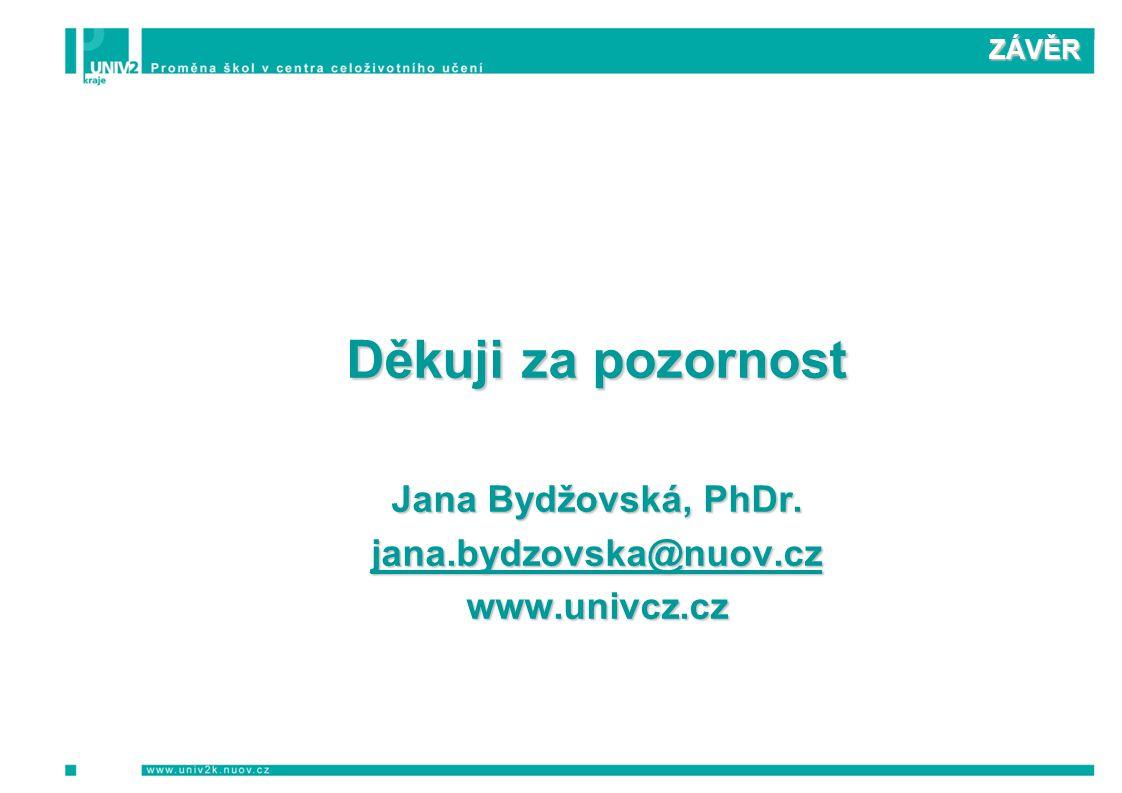 ZÁVĚR Děkuji za pozornost Jana Bydžovská, PhDr. jana.bydzovska@nuov.cz www.univcz.cz