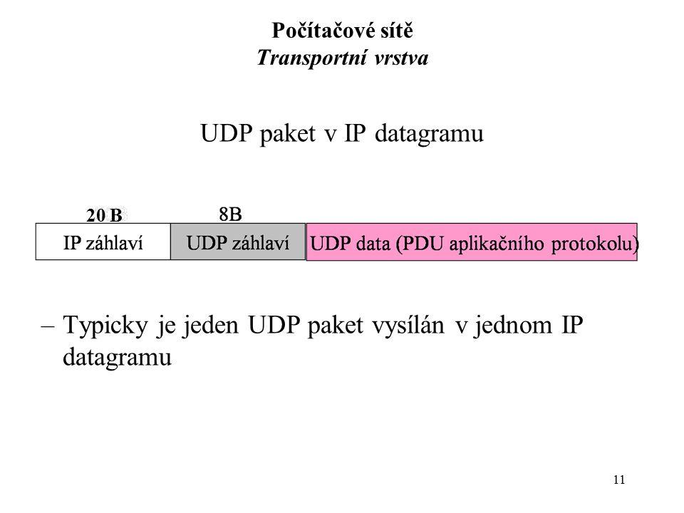 11 Počítačové sítě Transportní vrstva UDP paket v IP datagramu –Typicky je jeden UDP paket vysílán v jednom IP datagramu 20 B