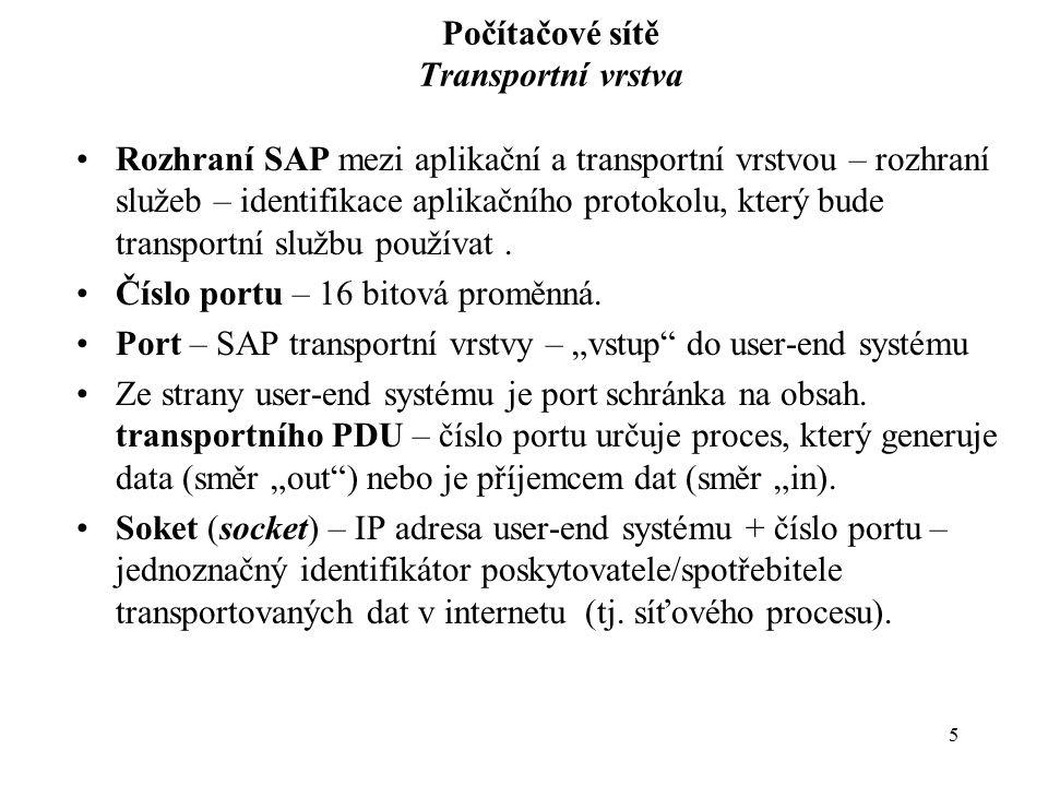 6 Počítačové sítě Transportní vrstva Port –Číslo portu – dekadické vyjádření 1 – 65535 –Adresový prostor portů spravuje IANA (Internet Assigned Numbers Authority) – pevně dané hodnoty pro poskytovatele určitých síťových služeb (tj.