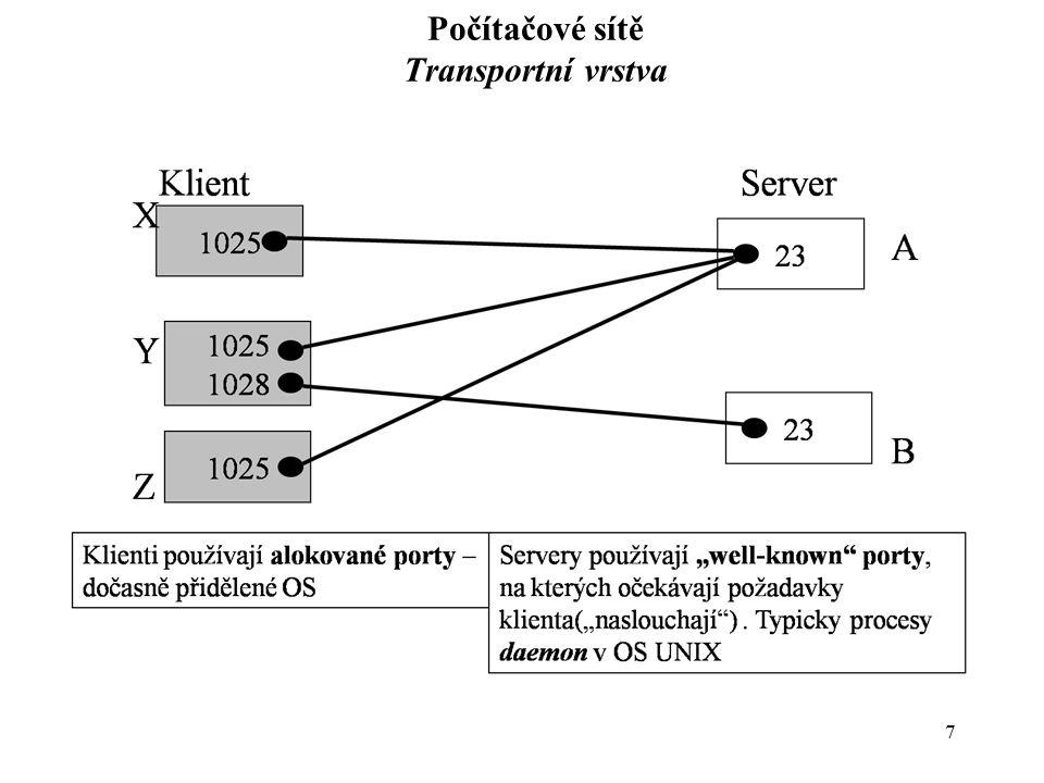 8 Počítačové sítě Transportní vrstva - protokoly Protokol UDP –Služba nespojovaná (connection-less) – nespolehlivá, transport nelze řídit –Velmi efektivní – rychlá, malá provozní režie –Používá se pro aplikace s malým objemem přenášených dat (zprávy se stanovenou velikostí apod.) pro aplikace vyžadujících broadcast nebo multicast pro aplikace, které si správnost datových přenosů samy zabezpečí