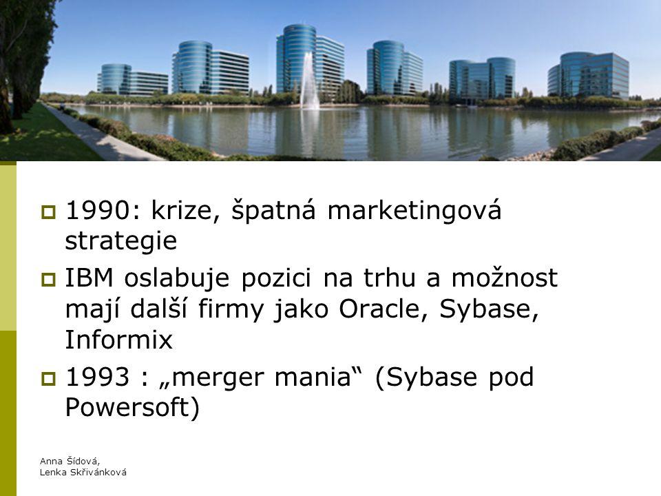 """Oracle  80.léta : Oracle (Oracle database)  1990: krize, špatná marketingová strategie  IBM oslabuje pozici na trhu a možnost mají další firmy jako Oracle, Sybase, Informix  1993 : """"merger mania (Sybase pod Powersoft) Anna Šídová, Lenka Skřivánková"""