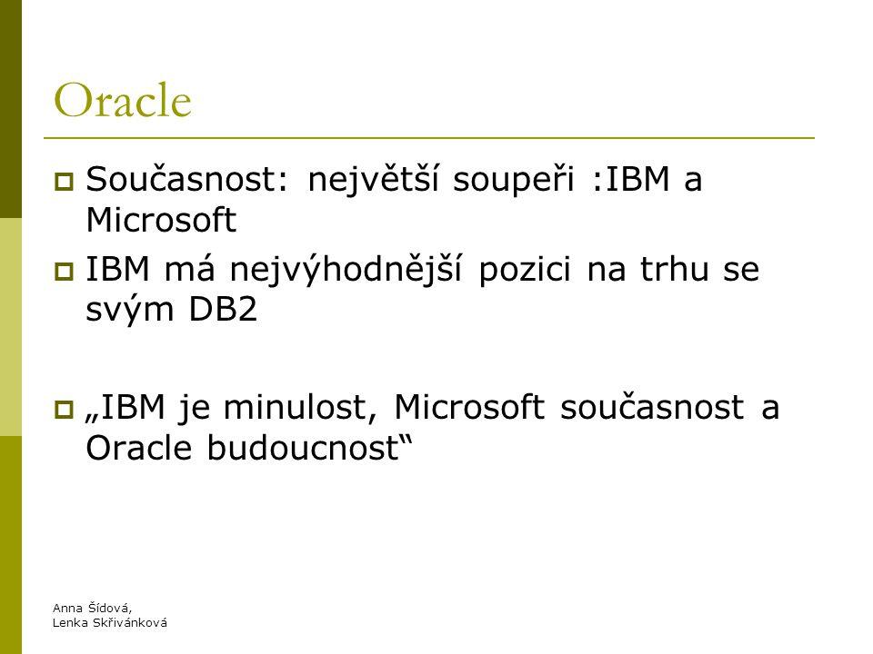 """Oracle  Současnost: největší soupeři :IBM a Microsoft  IBM má nejvýhodnější pozici na trhu se svým DB2  """"IBM je minulost, Microsoft současnost a Oracle budoucnost Anna Šídová, Lenka Skřivánková"""