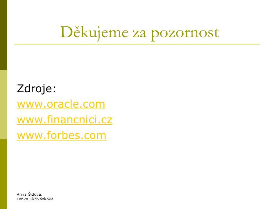 Děkujeme za pozornost Zdroje: www.oracle.com www.financnici.cz www.forbes.com Anna Šídová, Lenka Skřivánková