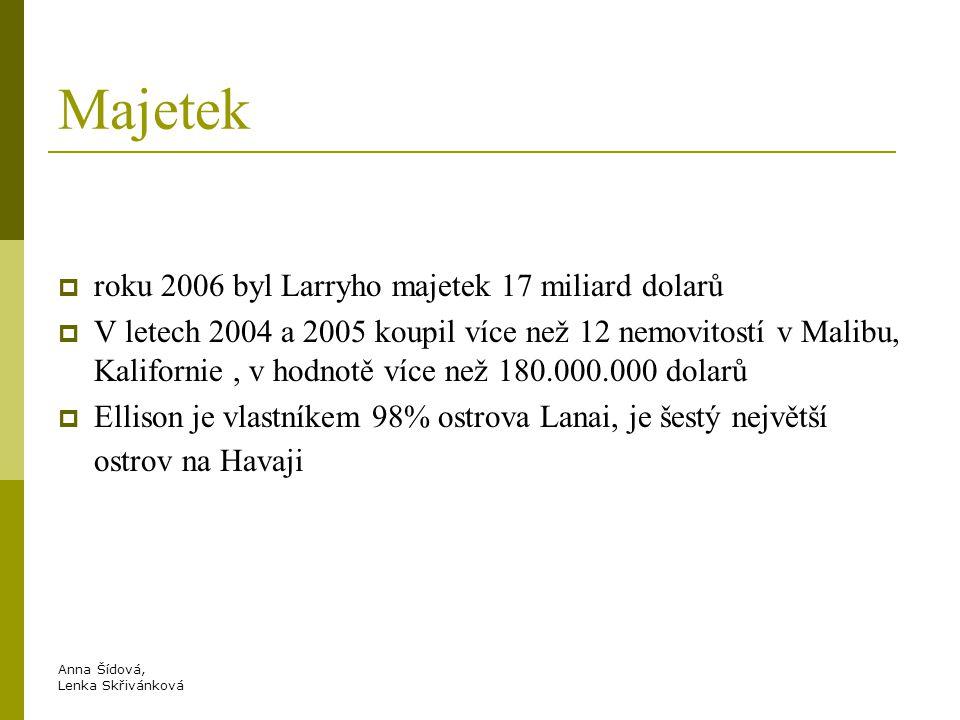 Anna Šídová, Lenka Skřivánková Majetek  roku 2006 byl Larryho majetek 17 miliard dolarů  V letech 2004 a 2005 koupil více než 12 nemovitostí v Malibu, Kalifornie, v hodnotě více než 180.000.000 dolarů  Ellison je vlastníkem 98% ostrova Lanai, je šestý největší ostrov na Havaji