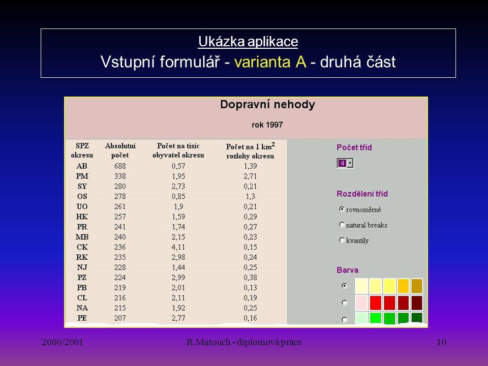 2000/2001R.Matouch - diplomová práce10 Ukázka aplikace Vstupní formulář - varianta A - druhá část