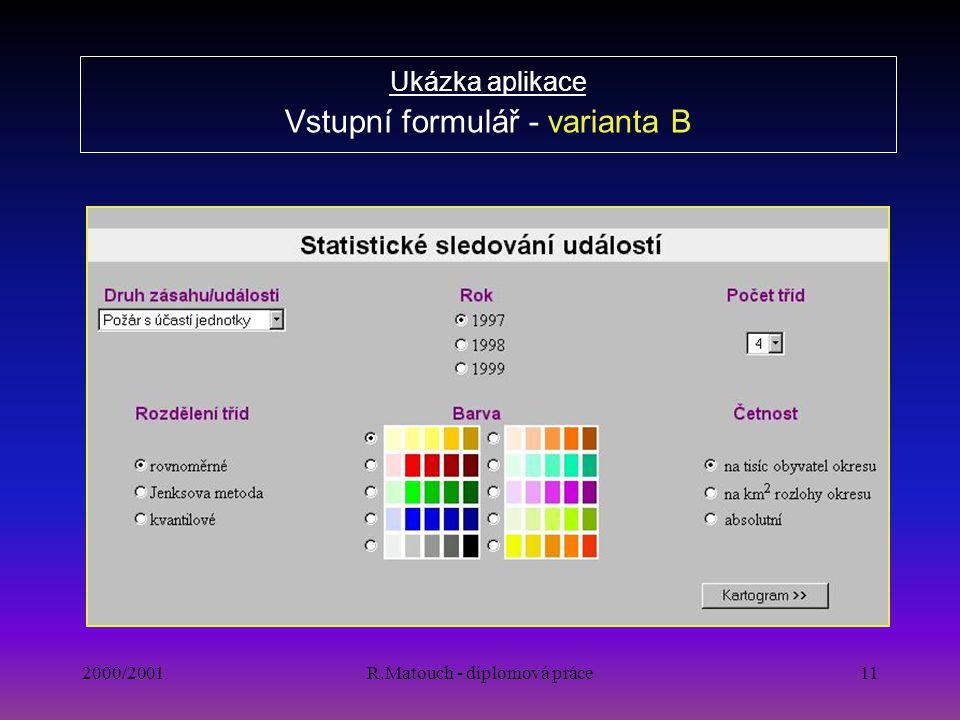 2000/2001R.Matouch - diplomová práce11 Ukázka aplikace Vstupní formulář - varianta B