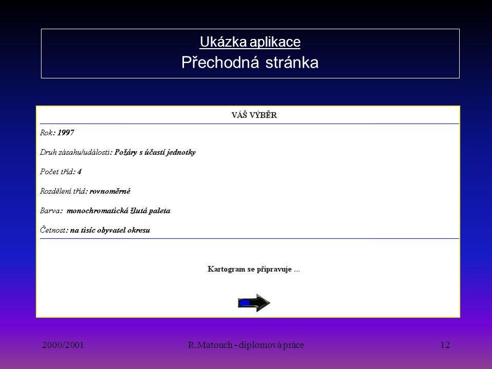2000/2001R.Matouch - diplomová práce12 Ukázka aplikace Přechodná stránka