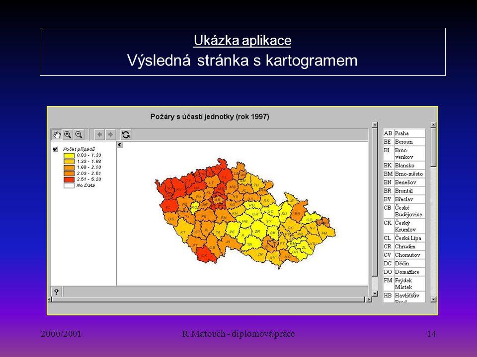 2000/2001R.Matouch - diplomová práce14 Ukázka aplikace Výsledná stránka s kartogramem
