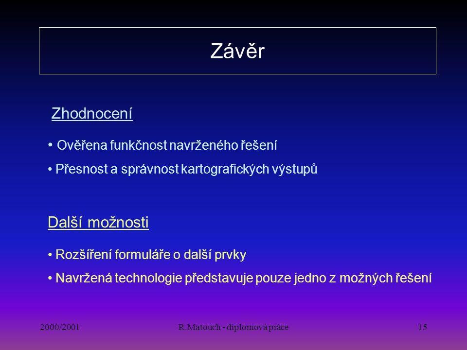 2000/2001R.Matouch - diplomová práce15 Závěr Rozšíření formuláře o další prvky Navržená technologie představuje pouze jedno z možných řešení Ověřena f
