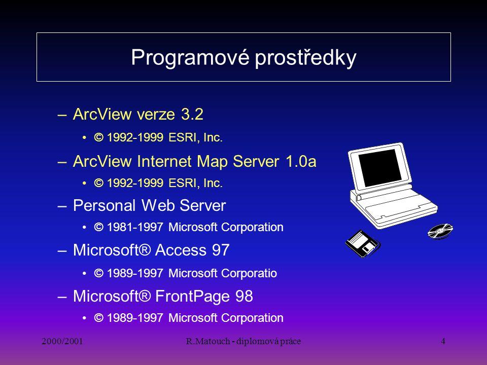 2000/2001R.Matouch - diplomová práce4 Programové prostředky –ArcView verze 3.2 © 1992-1999 ESRI, Inc. –ArcView Internet Map Server 1.0a © 1992-1999 ES