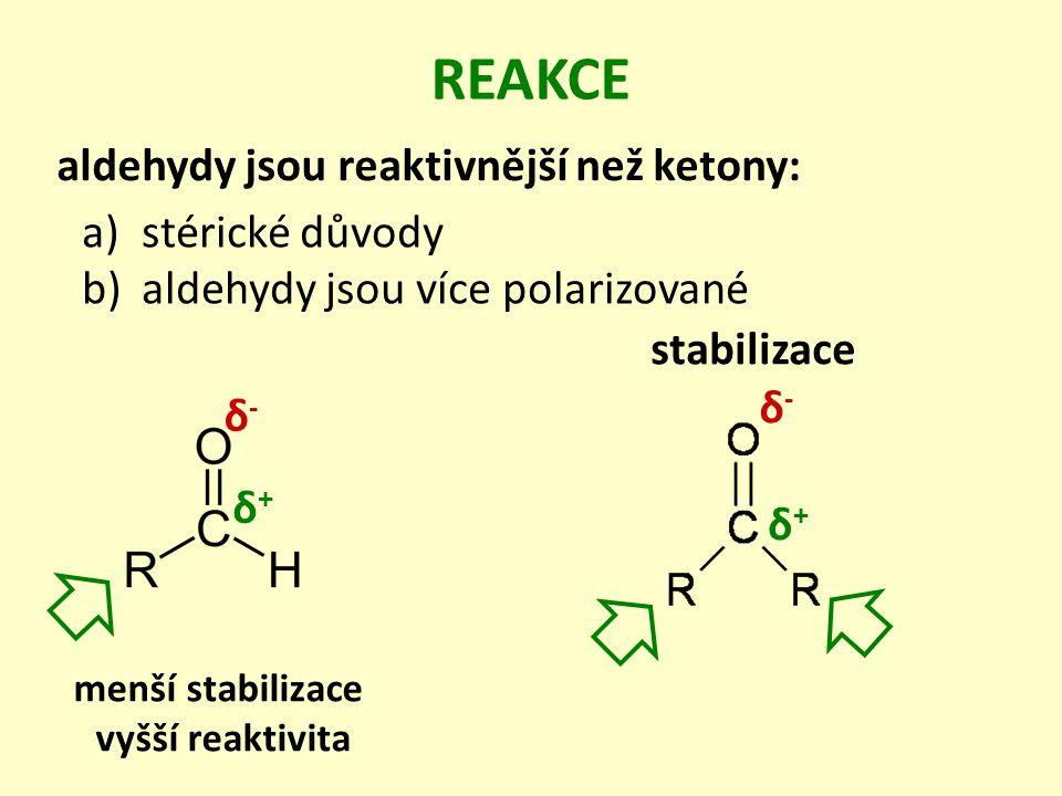 REAKCE aldehydy jsou reaktivnější než ketony: a)stérické důvody b)aldehydy jsou více polarizované δ+δ+ δ-δ- δ+δ+ δ-δ- stabilizace menší stabilizace vyšší reaktivita