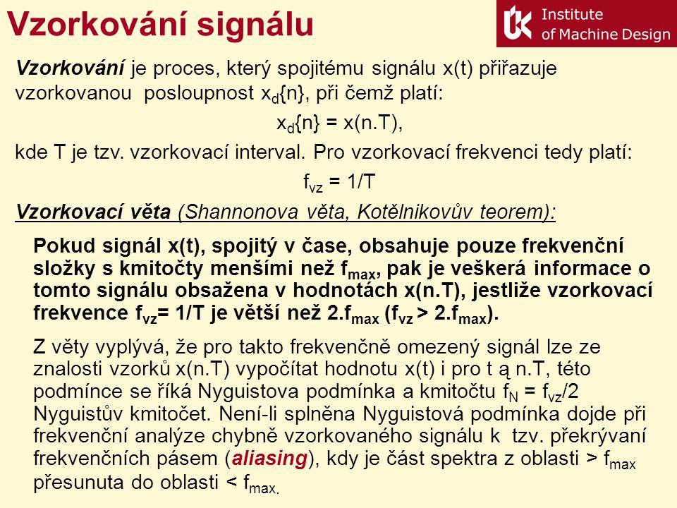 Vzorkování signálu Pokud signál x(t), spojitý v čase, obsahuje pouze frekvenční složky s kmitočty menšími než f max, pak je veškerá informace o tomto