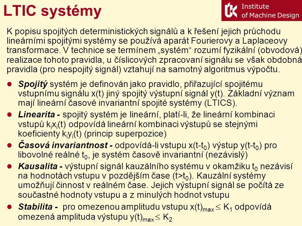 LTIC systémy Spojitý systém je definován jako pravidlo, přiřazující spojitému vstupnímu signálu x(t) jiný spojitý výstupní signál y(t). Základní význa