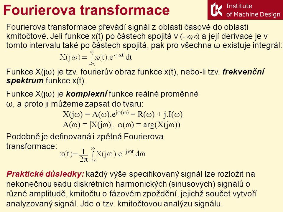 Fourierova transformace Funkce X(jω) je komplexní funkce reálné proměnné ω, a proto ji můžeme zapsat do tvaru: X(jω) = A(ω).e jφ(ω) = R(ω) + j.I(ω) A(