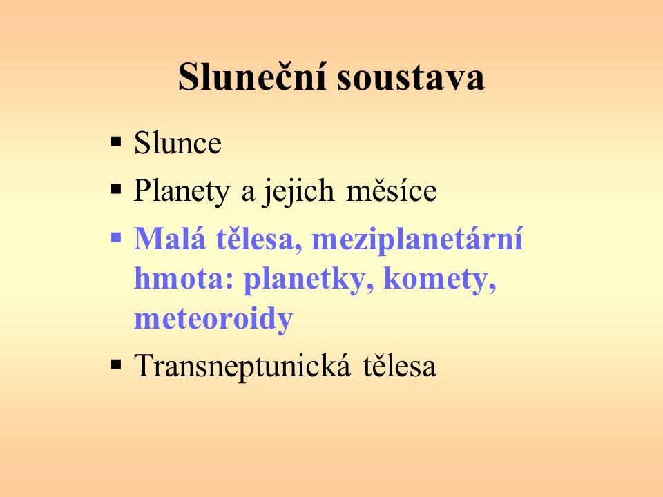 Sluneční soustava  Slunce  Planety a jejich měsíce  Malá tělesa, meziplanetární hmota: planetky, komety, meteoroidy  Transneptunická tělesa