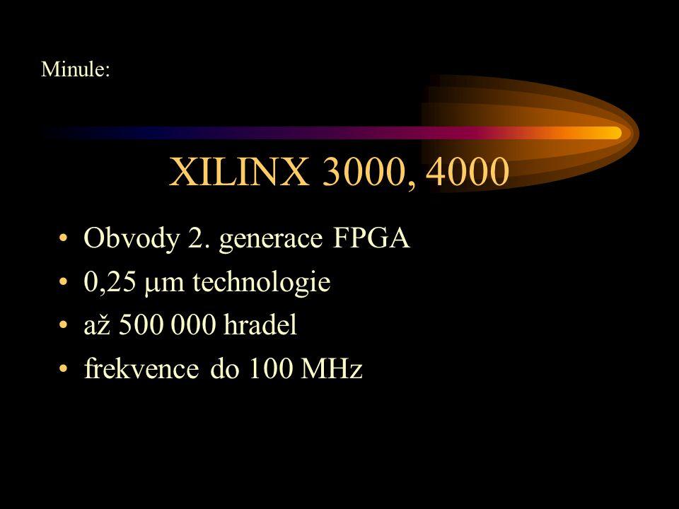 Spartan IIE Větší hustota integrace diferenciální I/O standarty 1,8V verze, 150 nm technologie postaveny na VIRTEX TM architektuře až 24 I/O standartů frekvence do 200 MHz 23K-600K hradel, 1729-15552 log.