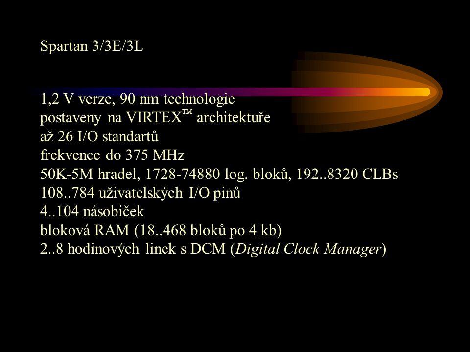 Spartan 3/3E/3L 1,2 V verze, 90 nm technologie postaveny na VIRTEX TM architektuře až 26 I/O standartů frekvence do 375 MHz 50K-5M hradel, 1728-74880 log.