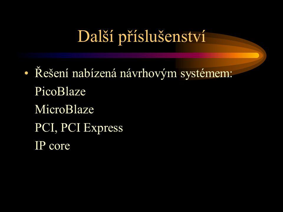 Další příslušenství Řešení nabízená návrhovým systémem: PicoBlaze MicroBlaze PCI, PCI Express IP core