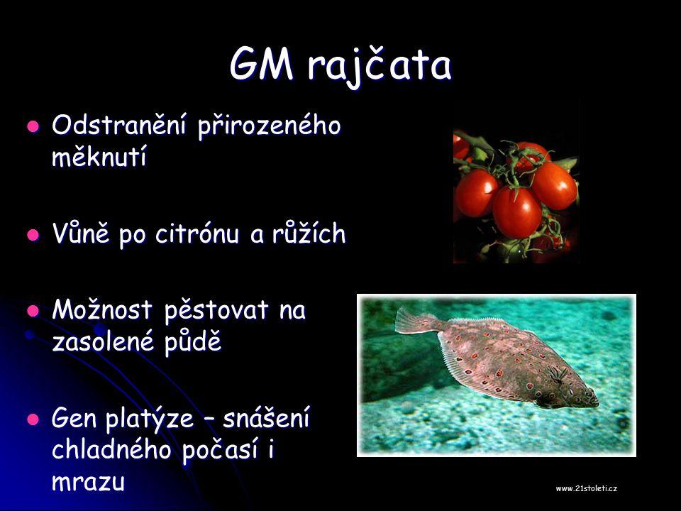 GM rajčata Odstranění přirozeného měknutí Odstranění přirozeného měknutí Vůně po citrónu a růžích Vůně po citrónu a růžích Možnost pěstovat na zasolen
