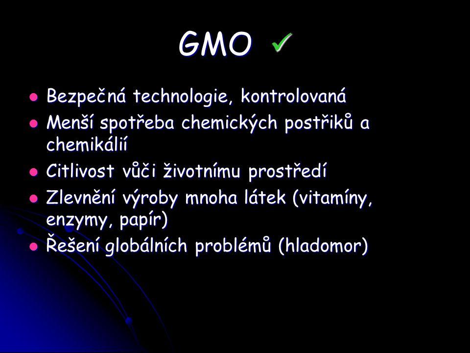 GMO GMO Bezpečná technologie, kontrolovaná Bezpečná technologie, kontrolovaná Menší spotřeba chemických postřiků a chemikálií Menší spotřeba chemickýc