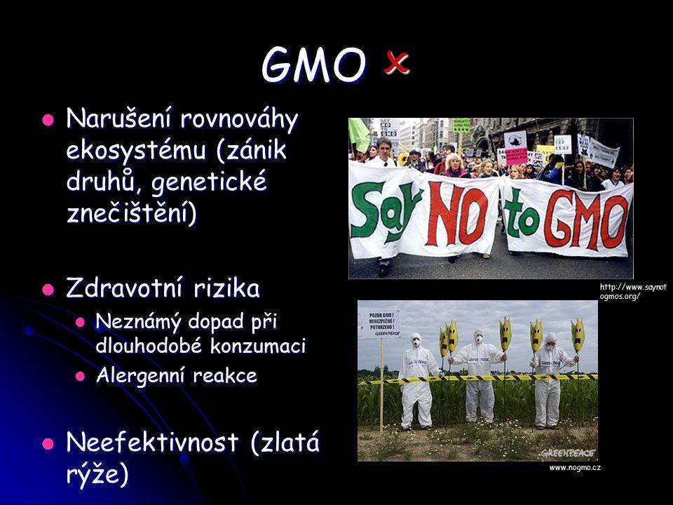 GMO  Narušení rovnováhy ekosystému (zánik druhů, genetické znečištění) Narušení rovnováhy ekosystému (zánik druhů, genetické znečištění) Zdravotní ri