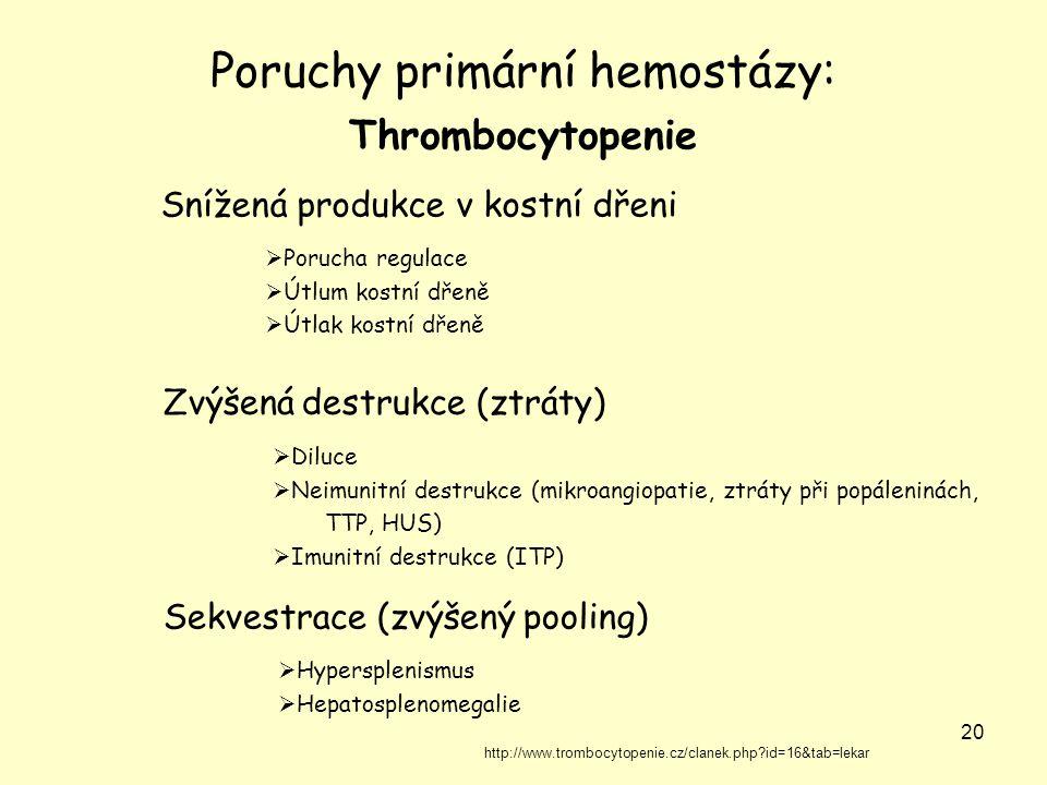 20 Poruchy primární hemostázy: Thrombocytopenie Snížená produkce v kostní dřeni  Porucha regulace  Útlum kostní dřeně  Útlak kostní dřeně  Diluce