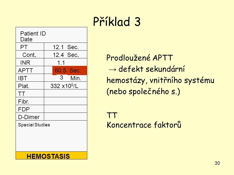 30 Příklad 3 Patient ID Date Special Studies PT Cont. INR APTT IBT Plat. TT Fibr. FDP D-Dimer HEMOSTASIS 12.1 Sec. 12.4 Sec. 1.1 60.5 Sec. 7.0 Min. 33