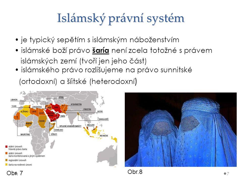 Islámský právní systém je typický sepětím s islámským náboženstvím islámské boží právo šaría není zcela totožné s právem islámských zemí (tvoří jen je