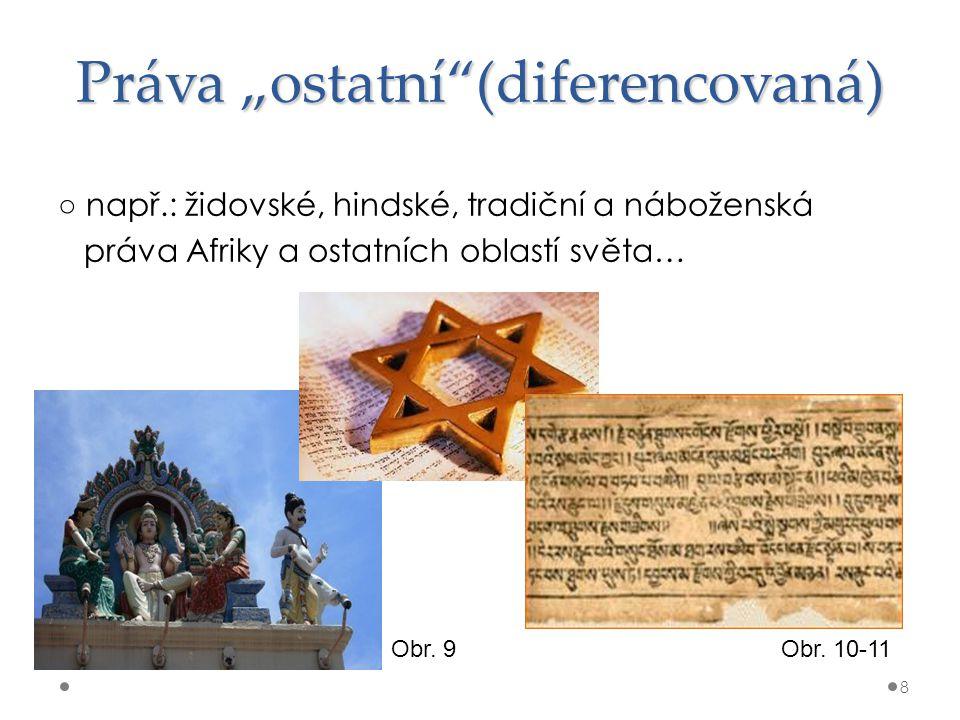 """Práva """"ostatní""""(diferencovaná) ○ např.: židovské, hindské, tradiční a náboženská práva Afriky a ostatních oblastí světa… 8 Obr. 9Obr. 10-11"""