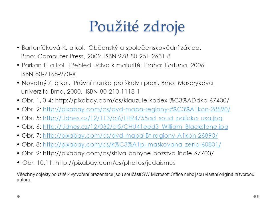 Použité zdroje Bartoníčková K. a kol. Občanský a společenskovědní základ. Brno : Computer Press, 2009. ISBN 978-80-251-2631-8 Parkan F. a kol. Přehled