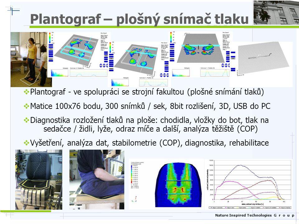 Nature Inspired Technologies G r o u p Plantograf – plošný snímač tlaku  Plantograf - ve spolupráci se strojní fakultou (plošné snímání tlaků)  Matice 100x76 bodu, 300 snímků / sek, 8bit rozlišení, 3D, USB do PC  Diagnostika rozložení tlaků na ploše: chodidla, vložky do bot, tlak na sedačce / židli, lyže, odraz míče a další, analýza těžiště (COP)  Vyšetření, analýza dat, stabilometrie (COP), diagnostika, rehabilitace