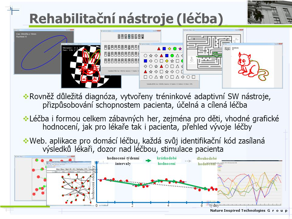 Nature Inspired Technologies G r o u p Rehabilitační nástroje (léčba)  Rovněž důležitá diagnóza, vytvořeny tréninkové adaptivní SW nástroje, přizpůsobování schopnostem pacienta, účelná a cílená léčba  Léčba i formou celkem zábavných her, zejména pro děti, vhodné grafické hodnocení, jak pro lékaře tak i pacienta, přehled vývoje léčby  Web.