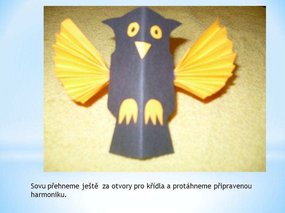 Sovu přehneme ještě za otvory pro křídla a protáhneme připravenou harmoniku.