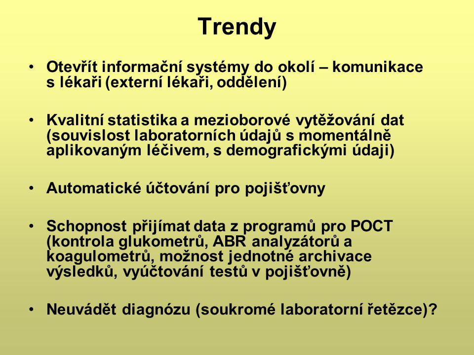 Trendy Otevřít informační systémy do okolí – komunikace s lékaři (externí lékaři, oddělení) Kvalitní statistika a mezioborové vytěžování dat (souvislo