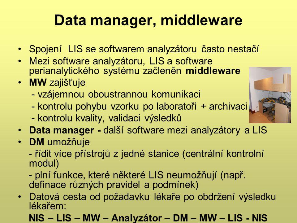 Data manager, middleware Spojení LIS se softwarem analyzátoru často nestačí Mezi software analyzátoru, LIS a software perianalytického systému začleně