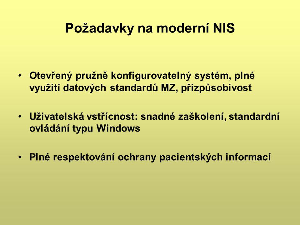 Požadavky na moderní NIS Otevřený pružně konfigurovatelný systém, plné využití datových standardů MZ, přizpůsobivost Uživatelská vstřícnost: snadné za
