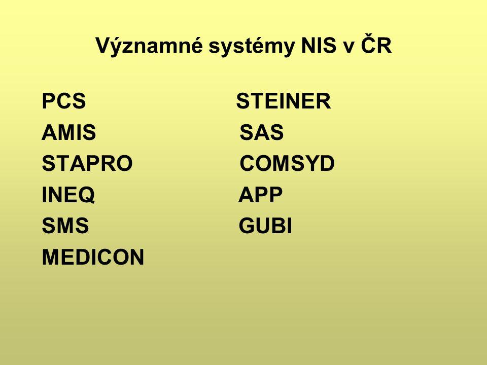Významné systémy NIS v ČR PCS STEINER AMIS SAS STAPRO COMSYD INEQ APP SMS GUBI MEDICON
