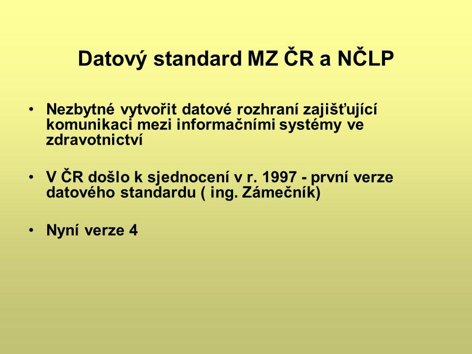 Datový standard MZ ČR a NČLP Nezbytné vytvořit datové rozhraní zajišťující komunikaci mezi informačními systémy ve zdravotnictví V ČR došlo k sjednoce