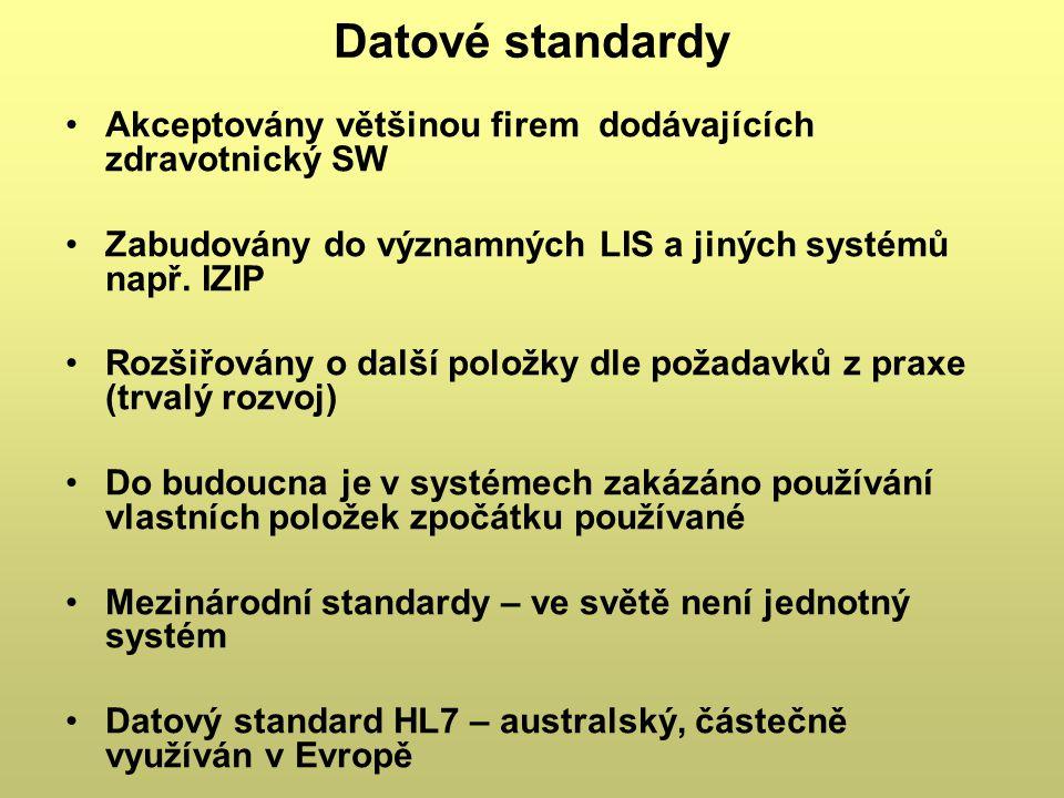 Datové standardy Akceptovány většinou firem dodávajících zdravotnický SW Zabudovány do významných LIS a jiných systémů např. IZIP Rozšiřovány o další