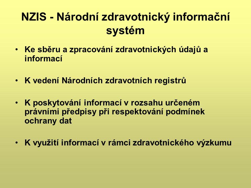 NZIS - Národní zdravotnický informační systém Ke sběru a zpracování zdravotnických údajů a informací K vedení Národních zdravotních registrů K poskyto