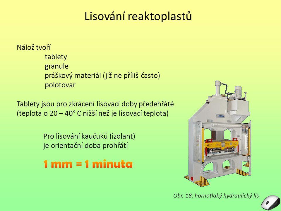 Lisování reaktoplastů Nálož tvoří tablety granule práškový materiál (již ne příliš často) polotovar Tablety jsou pro zkrácení lisovací doby předehřáté